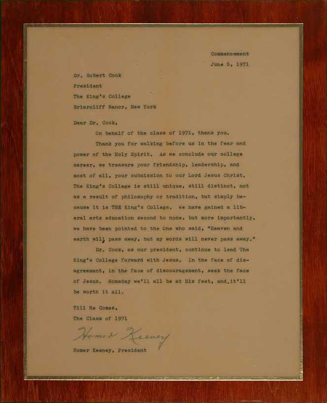 Letter from student body president
