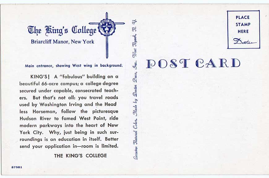 Post Card Back