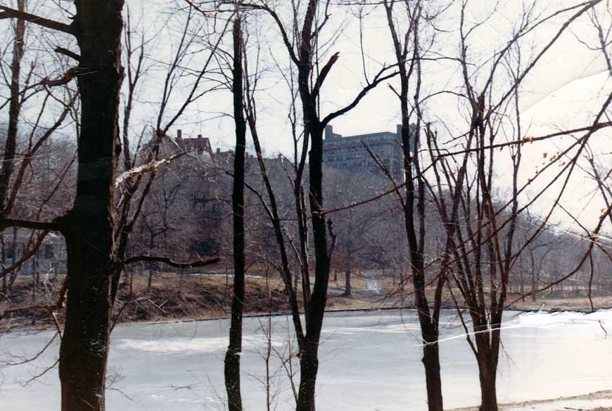The frozen lake in winter