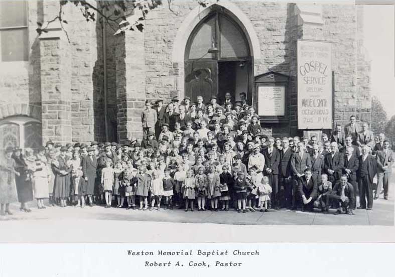 Congregation outside of Weston Memorial Baptist Church