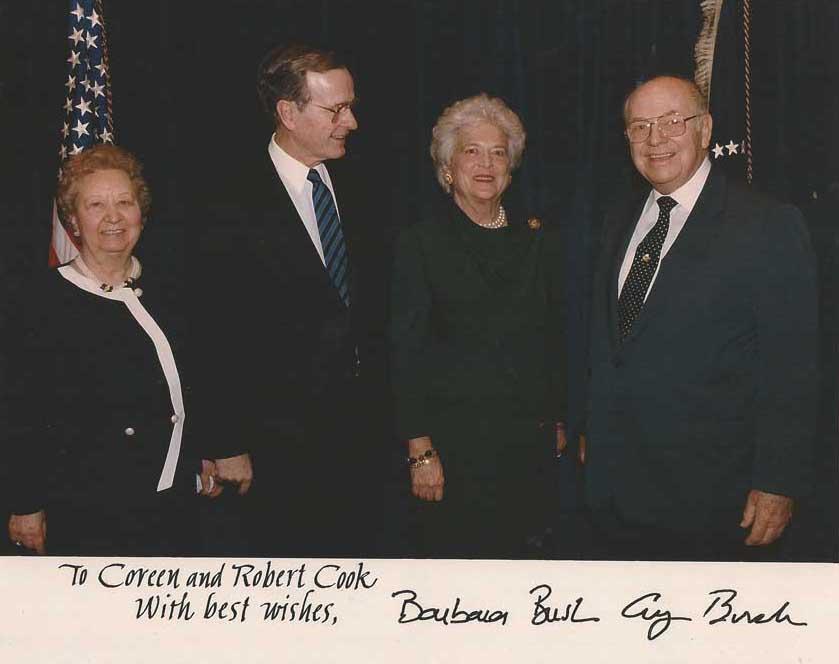 Barbara Bush, President HW Bush, and Dr. Robert Cook