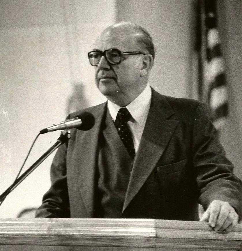 Dr. Cook speaking in chapel