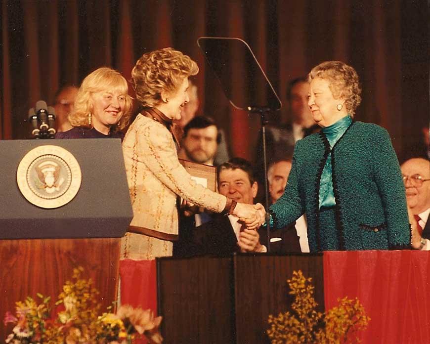 Nancy Reagan receiving a special award