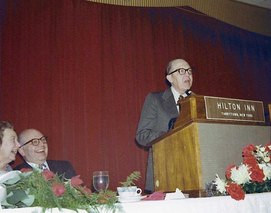 Mel Larson addressing the anniversary crowd
