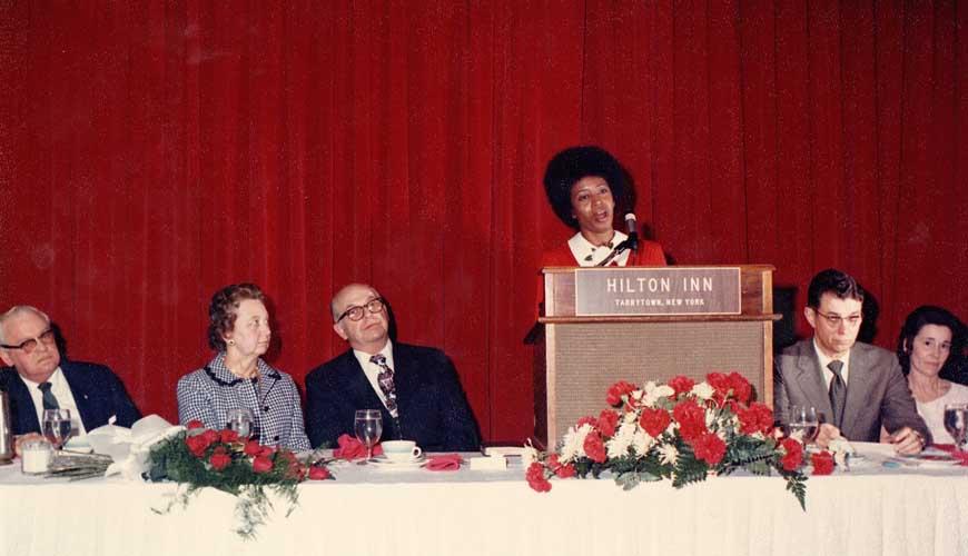 Myrtle Hall singing at Dr. Cook's anniversary celebration